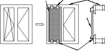 Схема установки сеток москитных сеток